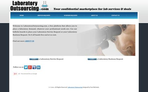 Screenshot of Home Page laboratoryoutsourcing.com - LABORATORY OUTSOURCING - captured Oct. 1, 2014