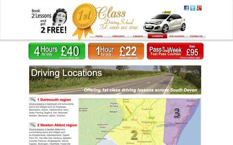 Screenshot of Locations Page 1stclassdriveschool.co.uk - 1st Class Driving School | Driving Lessons in Torbay,Torquay,Paignton,Newton Abbot,Totnes,Dartmouth - captured Oct. 20, 2018