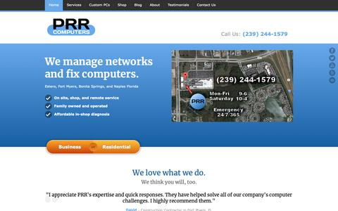 Screenshot of Home Page prrcomputers.com - Estero Computer Repair Service | PRR Computers, LLC - captured Oct. 24, 2018