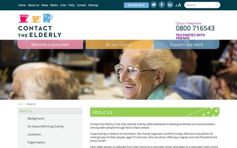 Screenshot of About Page contact-the-elderly.org.uk - Contact the Elderly - captured July 21, 2018