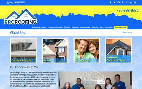 Screenshot of About Page myproroofing.com - Pro Roofing & Siding | Marietta, GA |Roofing Contractor | - captured Sept. 29, 2018