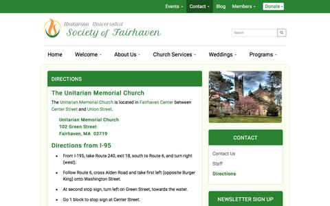 Screenshot of Maps & Directions Page uufairhaven.org - Directions - Unitarian Universalist Society of Fairhaven, Massachusetts - captured June 13, 2016