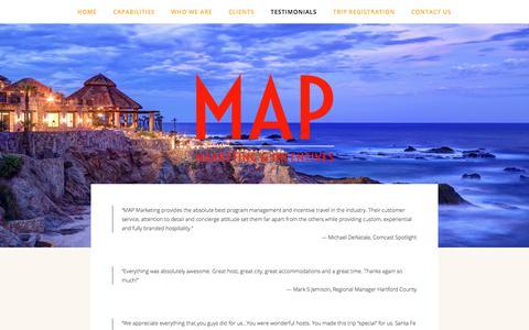 Screenshot of Testimonials Page mapmarketinginc.com - Testimonials — MAP Marketing & Incentives - captured Sept. 20, 2017