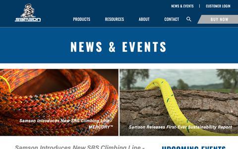 Screenshot of Press Page samsonrope.com - News & Events - captured Dec. 13, 2018