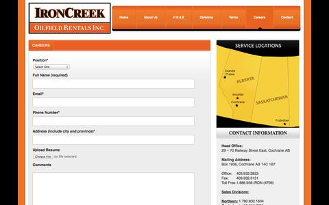 Screenshot of Jobs Page ironcreekrentals.com - Careers   IronCreek Oilfield Rentals Inc - captured Oct. 6, 2014