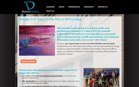 Screenshot of Support Page danceworksmke.org - Donate and Support the Arts in Milwaukee | Danceworks - captured Dec. 19, 2018