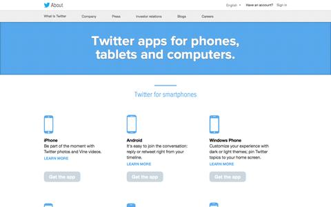 Screenshot of Products Page twitter.com - Twitter apps for smartphones, tablets and computers - captured Sept. 13, 2014