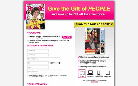 Screenshot of Landing Page timeinc.com - Give the Gift of PEOPLE - captured Dec. 6, 2016