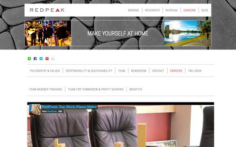 Screenshot of Jobs Page redpeak.com - Careers | RedPeak Apartments in Denver RedPeak Properties - captured Oct. 7, 2014