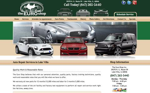 Screenshot of Services Page theeuroshopinc.com - Auto Repair | Auto Services | Chicago IL | Milwaukee | European Car Service Chicago Milwaukee - captured Oct. 7, 2014