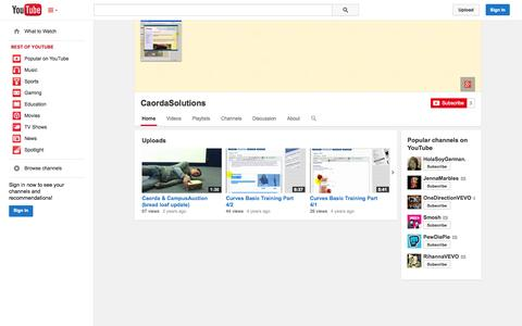 Screenshot of YouTube Page youtube.com - CaordaSolutions  - YouTube - captured Oct. 22, 2014