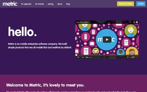 Screenshot of About Page metric.io - Metric   About - captured Oct. 27, 2014