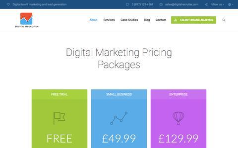 Screenshot of Pricing Page digitalrecruiter.com - Inner page: Pricing Page | Digital Recruiter - captured Jan. 7, 2016