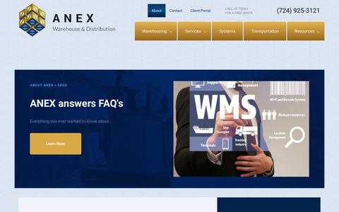 Screenshot of FAQ Page anexwarehouse.com - FAQs | ANEX Pittsburgh Warehouse Third-Party Public Warehousing Distribution Logistics Services in Western PA - captured Oct. 8, 2017
