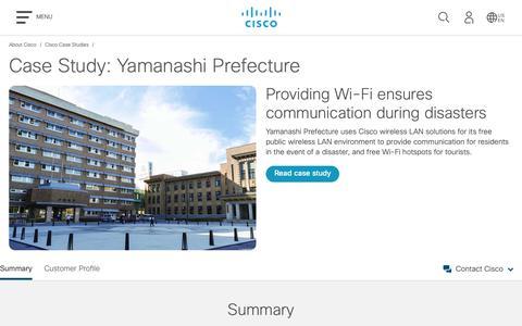 Screenshot of Case Studies Page cisco.com - Cisco Case Study: Yamanashi Prefecture - Cisco - captured May 10, 2019