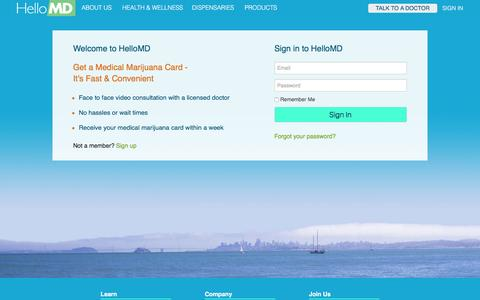Screenshot of Login Page hellomd.com - Welcome to HelloMD. Login to access your account. - captured Dec. 9, 2015