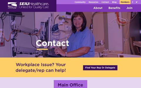 Screenshot of Contact Page seiu1199nw.org - Contact - SEIU Healthcare 1199NW - captured Oct. 1, 2018