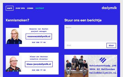 Screenshot of Contact Page dailymilk.nl - Neem contact op met grafisch ontwerpbureau daily milk - captured Oct. 13, 2017