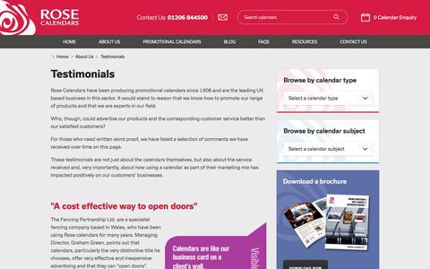 Screenshot of Testimonials Page rosecalendars.co.uk - Testimonials - Rose Calendars - captured Oct. 25, 2017