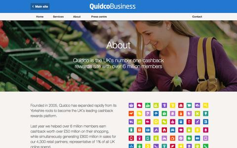 Screenshot of About Page quidco.com - About | Quidco Business - captured July 30, 2016