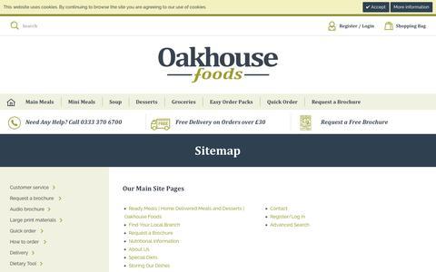 Screenshot of Site Map Page oakhousefoods.co.uk - Sitemap - captured Dec. 17, 2016