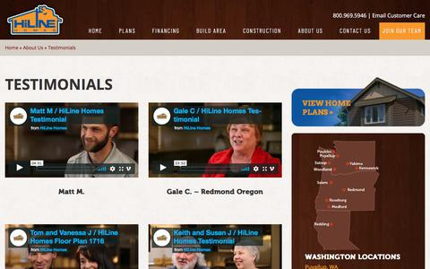 Screenshot of Testimonials Page hilinehomes.com - Testimonials - HiLine Homes - captured July 19, 2018