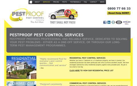 Screenshot of Services Page pestproof.co.nz - Pestproof Pest Control Services | Pestproof Pest Control - captured Sept. 27, 2018