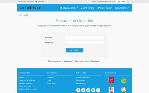 Screenshot of Login Page sodastream.it - Registrazione °º Sodastream º° a ciascuno le proprie bolle º° - captured Feb. 15, 2016
