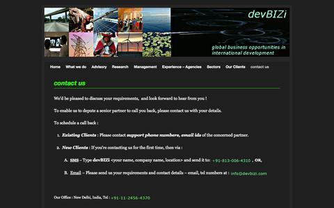 Screenshot of Contact Page devbizi.com - contact us | USAID, World Bank, ADB, DFID - International Development Business Opportunities - Partnerships, Funding, Advisory, Donor Relations; devBIZi.com - captured Oct. 5, 2014