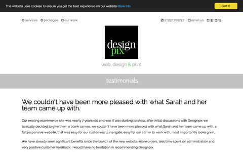 Screenshot of Testimonials Page designpix.co.uk - Client Testimonials | Designpix | Graphic Design | Website Design | Selby, York, Yorkshire - captured Dec. 21, 2017
