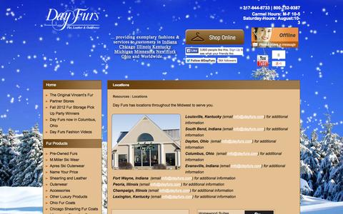 Screenshot of Locations Page dayfursinc.com - Day Furs Locations | Day Furs | Carmel Indianapolis Indiana - captured Oct. 5, 2014