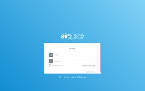 Screenshot of Login Page airgloss.com - Airgloss - captured July 29, 2018