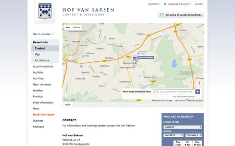Screenshot of Contact Page Maps & Directions Page hofvansaksen.com - Hof van Saksen | Contact, address and directions - captured April 3, 2016