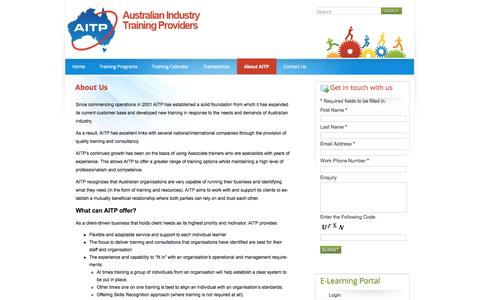 Screenshot of About Page aitp.com.au - About Us | aitp - captured Oct. 4, 2014