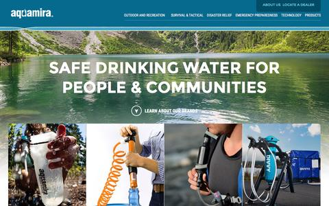 Screenshot of Home Page aquamira.com - Aquamira - Water Filtration, Treatment, & Purification Products - captured Jan. 16, 2016