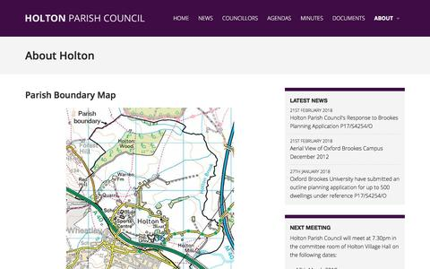Screenshot of About Page Maps & Directions Page holtonparishcouncil.org.uk - About Holton - Holton Parish Council - captured Feb. 23, 2018