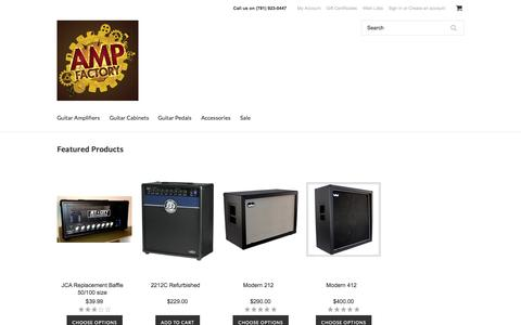 Screenshot of Home Page ampfactory.com - Quality Guitar Amplification at Great Values - captured Jan. 26, 2015