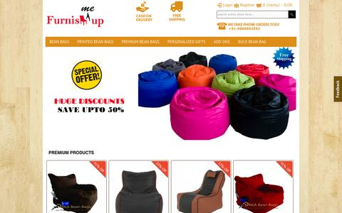 Screenshot of Home Page furnishmeup.com - Online Bean Bags | FurnishMeUp - The Online Bean Bag and furniture store Bangalore - Bean Bags Special Offers - captured Sept. 26, 2014