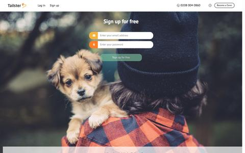 Screenshot of Signup Page tailster.com - Sign up for free - Tailster Dog Boarding, Dog Walking - captured Dec. 6, 2016