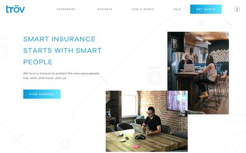Screenshot of Jobs Page trov.com - Trōv | On-Demand Insurance - Careers - captured May 22, 2019