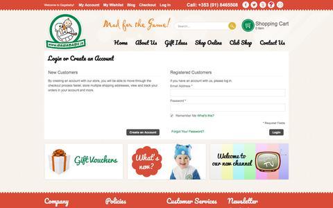 Screenshot of Login Page gagababy.ie - Customer Login - captured July 14, 2017