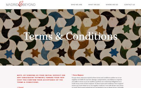 Screenshot of Terms Page madridandbeyond.com - Madrid & Beyond | Terms and conditions | M&B - captured June 24, 2019