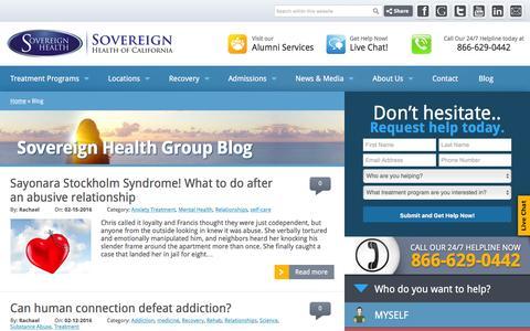 Screenshot of Blog sovcal.com - Sovereign Health Group - Dual Diagnosis Treatment Center - captured Feb. 15, 2016