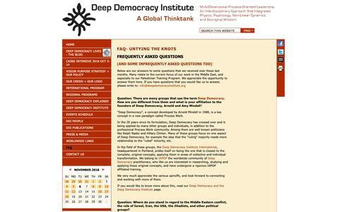Screenshot of FAQ Page deepdemocracyinstitute.org - Deep Democracy Institute - FAQ - captured Nov. 6, 2018