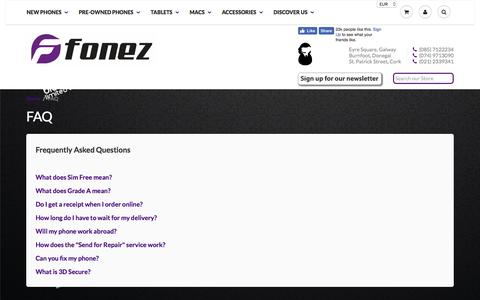 Screenshot of FAQ Page fonez.ie - FAQ - Frequently Asked Questions | Fonez, Ireland - captured Nov. 27, 2016
