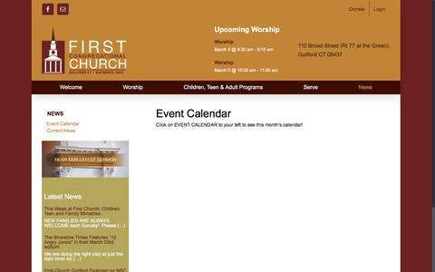 Screenshot of Press Page firstchurchguilford.org - Event Calendar – First Congregational Church - captured March 3, 2017