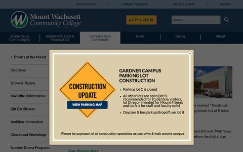 Screenshot of Maps & Directions Page mwcc.edu - Directions — Mount Wachusett Community College - captured July 12, 2018