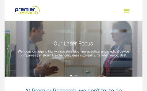 Screenshot of Home Page premier-research.com - Premier Research - captured July 23, 2015