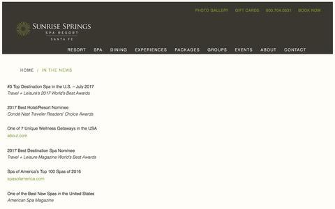 Screenshot of Press Page ojospa.com - In the News   Sunrise Springs Spa Resort - captured Oct. 25, 2017