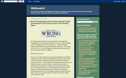 Screenshot of Home Page dcwasawatch.blogspot.com - WASAwatch - captured Oct. 1, 2014